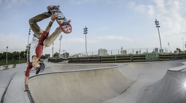 Athlete performs in Marbella Skatepark in Barcelona, Spain on september 13th, 2014