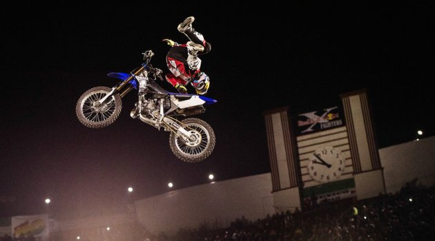 Clinton Moore of Australia performs during the finals of the first stop of the Red Bull X-Fighters World Tour at the Monumental Plaza de toros in Mexico City, Mexico on March 06, 2015.